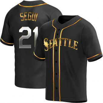 Men's David Segui Seattle Black Golden Replica Alternate Baseball Jersey (Unsigned No Brands/Logos)