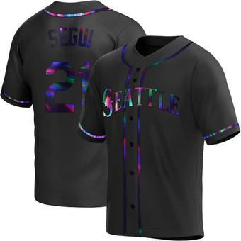 Men's David Segui Seattle Black Holographic Replica Alternate Baseball Jersey (Unsigned No Brands/Logos)