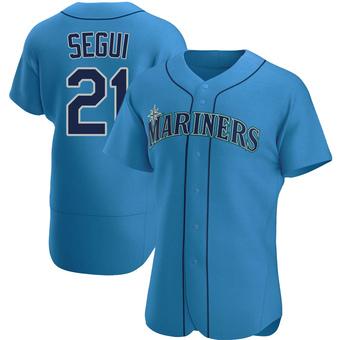 Men's David Segui Seattle Royal Authentic Alternate Baseball Jersey (Unsigned No Brands/Logos)