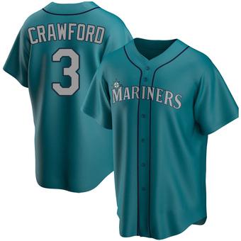 Men's J.P. Crawford Seattle Aqua Replica Alternate Baseball Jersey (Unsigned No Brands/Logos)
