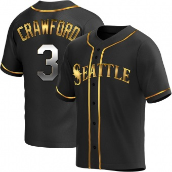 Men's J.P. Crawford Seattle Black Golden Replica Alternate Baseball Jersey (Unsigned No Brands/Logos)