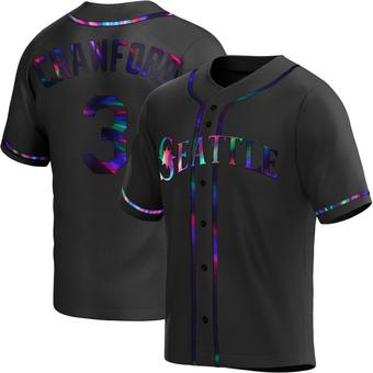 Men's J.P. Crawford Seattle Black Holographic Replica Alternate Baseball Jersey (Unsigned No Brands/Logos)