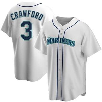 Men's J.P. Crawford Seattle White Replica Home Baseball Jersey (Unsigned No Brands/Logos)