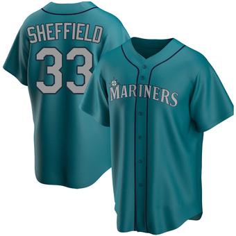 Men's Justus Sheffield Seattle Aqua Replica Alternate Baseball Jersey (Unsigned No Brands/Logos)
