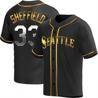 Men's Justus Sheffield Seattle Black Golden Replica Alternate Baseball Jersey (Unsigned No Brands/Logos)