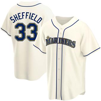 Men's Justus Sheffield Seattle Cream Replica Alternate Baseball Jersey (Unsigned No Brands/Logos)