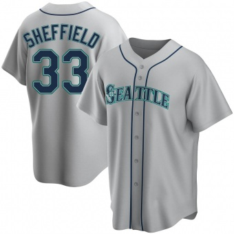 Men's Justus Sheffield Seattle Gray Replica Road Baseball Jersey (Unsigned No Brands/Logos)