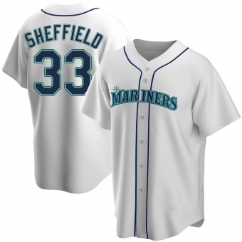 Men's Justus Sheffield Seattle White Replica Home Baseball Jersey (Unsigned No Brands/Logos)