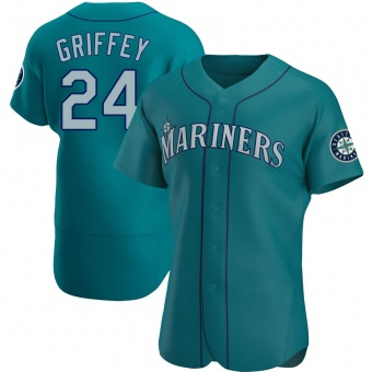 Men's Ken Griffey Seattle Aqua Authentic Alternate Baseball Jersey (Unsigned No Brands/Logos)