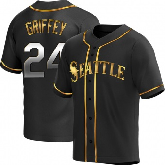 Men's Ken Griffey Seattle Black Golden Replica Alternate Baseball Jersey (Unsigned No Brands/Logos)