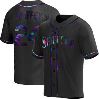 Men's Ken Griffey Seattle Black Holographic Replica Alternate Baseball Jersey (Unsigned No Brands/Logos)