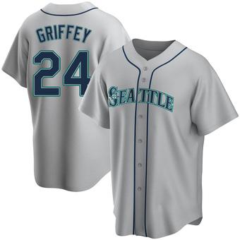 Men's Ken Griffey Seattle Gray Replica Road Baseball Jersey (Unsigned No Brands/Logos)