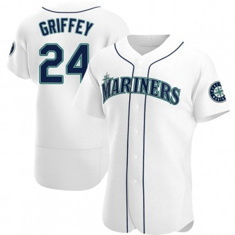 Men's Ken Griffey Seattle White Authentic Home Baseball Jersey (Unsigned No Brands/Logos)