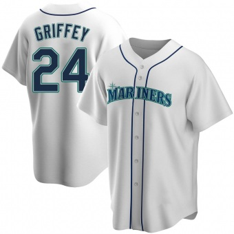 Men's Ken Griffey Seattle White Replica Home Baseball Jersey (Unsigned No Brands/Logos)