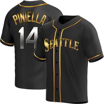 Men's Lou Piniella Seattle Black Golden Replica Alternate Baseball Jersey (Unsigned No Brands/Logos)