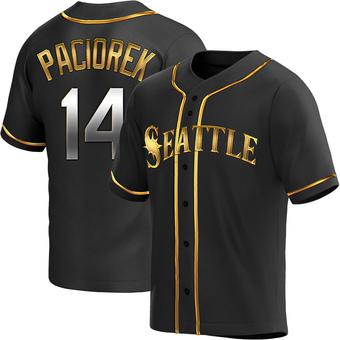 Men's Tom Paciorek Seattle Black Golden Replica Alternate Baseball Jersey (Unsigned No Brands/Logos)