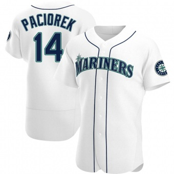 Men's Tom Paciorek Seattle White Authentic Home Baseball Jersey (Unsigned No Brands/Logos)