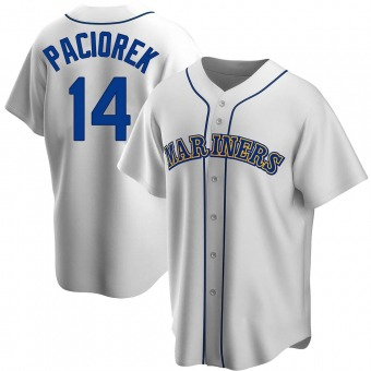 Men's Tom Paciorek Seattle White Replica Home Cooperstown Collection Baseball Jersey (Unsigned No Brands/Logos)