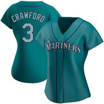 Women's J.P. Crawford Seattle Aqua Replica Alternate Baseball Jersey (Unsigned No Brands/Logos)