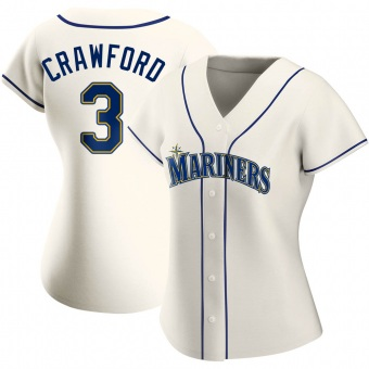 Women's J.P. Crawford Seattle Cream Authentic Alternate Baseball Jersey (Unsigned No Brands/Logos)