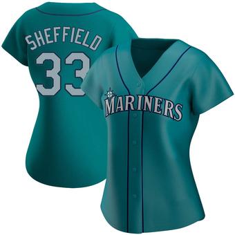Women's Justus Sheffield Seattle Aqua Authentic Alternate Baseball Jersey (Unsigned No Brands/Logos)