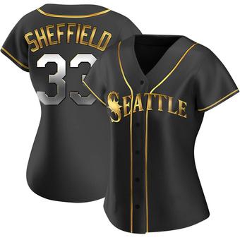 Women's Justus Sheffield Seattle Black Golden Replica Alternate Baseball Jersey (Unsigned No Brands/Logos)