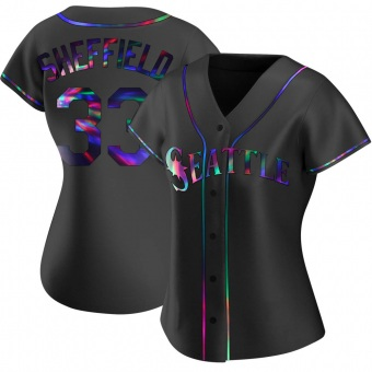 Women's Justus Sheffield Seattle Black Holographic Replica Alternate Baseball Jersey (Unsigned No Brands/Logos)