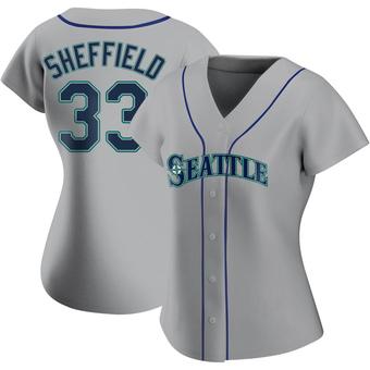 Women's Justus Sheffield Seattle Gray Replica Road Baseball Jersey (Unsigned No Brands/Logos)
