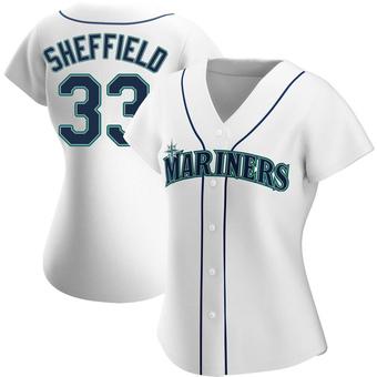 Women's Justus Sheffield Seattle White Replica Home Baseball Jersey (Unsigned No Brands/Logos)