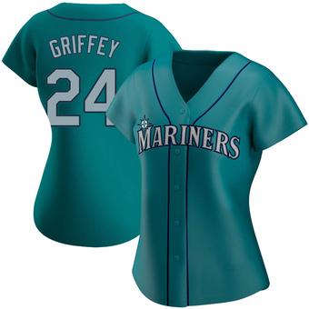 Women's Ken Griffey Seattle Aqua Authentic Alternate Baseball Jersey (Unsigned No Brands/Logos)