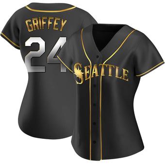 Women's Ken Griffey Seattle Black Golden Replica Alternate Baseball Jersey (Unsigned No Brands/Logos)