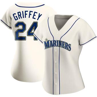 Women's Ken Griffey Seattle Cream Authentic Alternate Baseball Jersey (Unsigned No Brands/Logos)