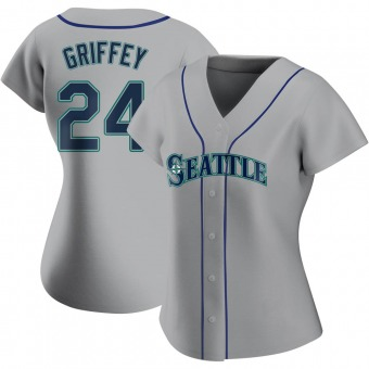 Women's Ken Griffey Seattle Gray Authentic Road Baseball Jersey (Unsigned No Brands/Logos)