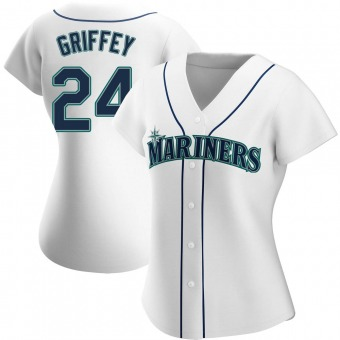 Women's Ken Griffey Seattle White Authentic Home Baseball Jersey (Unsigned No Brands/Logos)