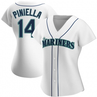 Women's Lou Piniella Seattle White Authentic Home Baseball Jersey (Unsigned No Brands/Logos)