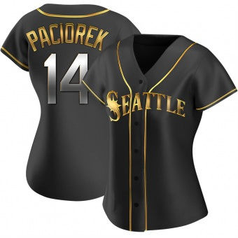 Women's Tom Paciorek Seattle Black Golden Replica Alternate Baseball Jersey (Unsigned No Brands/Logos)