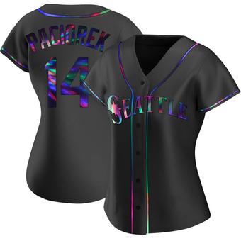 Women's Tom Paciorek Seattle Black Holographic Replica Alternate Baseball Jersey (Unsigned No Brands/Logos)