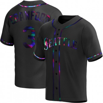 Youth J.P. Crawford Seattle Black Holographic Replica Alternate Baseball Jersey (Unsigned No Brands/Logos)