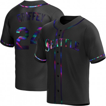 Youth Ken Griffey Seattle Black Holographic Replica Alternate Baseball Jersey (Unsigned No Brands/Logos)