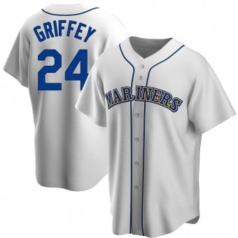 Youth Ken Griffey Seattle White Replica Home Cooperstown Collection Baseball Jersey (Unsigned No Brands/Logos)